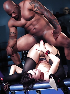 Stocking ladies in anal sex action