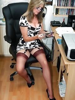 Office sexy secretaries legs in stockings
