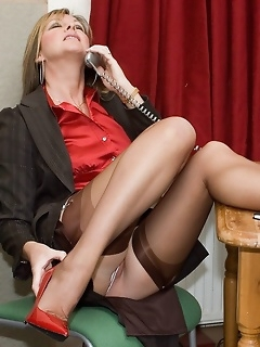 Office sexy secretaries legs in stockings