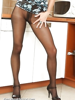 Hot asses and sexy legs covered by tight nylon pantyhose