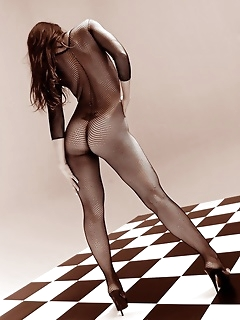 Amazing body covered by transperent bodystocking