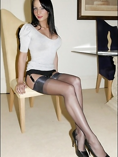 Hot brunette babes in sexy nylons